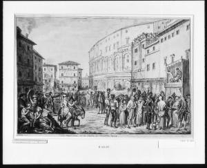Piazza Montanara under karnevalen, c. 1775. Gravyr av David Allen.