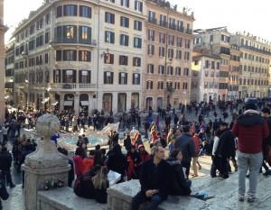 Piazza di Spagna strax efter huliganframfarten