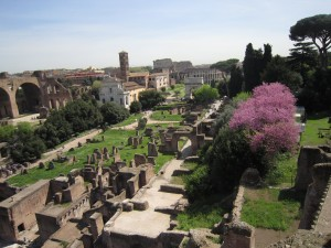 Den här bilden har nästan inget med texten att göra - utom att den visar riktig vår, och möjligen att filmens huvudperson bor med utsikt över Colosseum (från andra hållet).