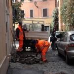 Gatuarbeten i Trastevere