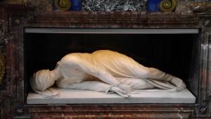 """""""Carlo Modernas underbara marmorstaty av den heliga Cecilia"""", skriver Rydelius."""